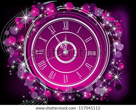 Happy New Year  background silver and violet - stock vector