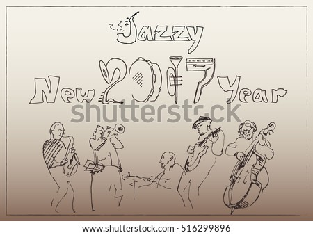 Happy New Year background stylized in doodles musical instruments with musicians. Jazz party conception.