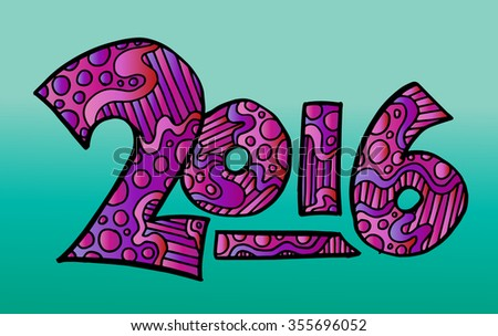 Happy New Year 2016 background. Vector zentangle numbers illlustration
