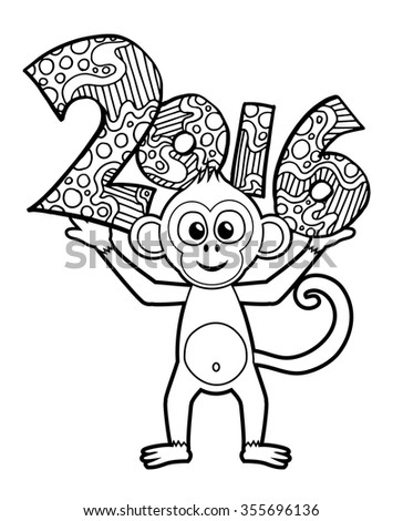 Happy New Year 2016 background. Vector zentangle numbers illlustration. Year of the monkey colouring page