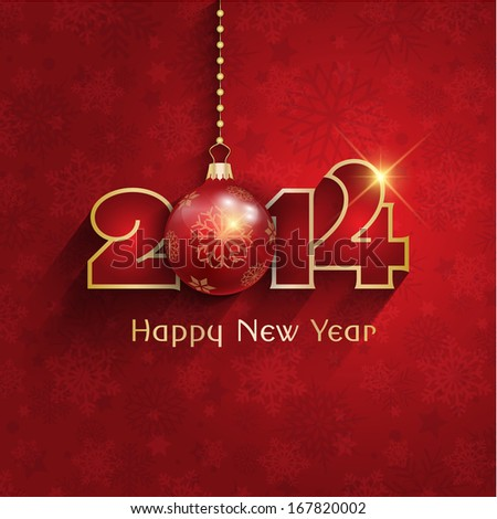 Happy New Year background with a hanging bauble - stock vector