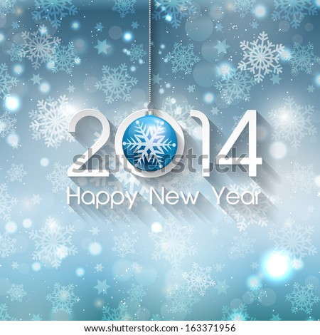 Happy new year background with Christmas bauble - stock vector