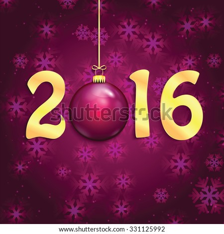 Happy new year background with Christmas bauble .New Year 2016