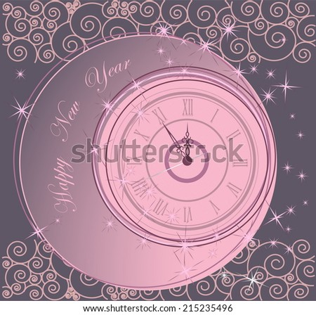 Happy New Year background with clock - stock vector