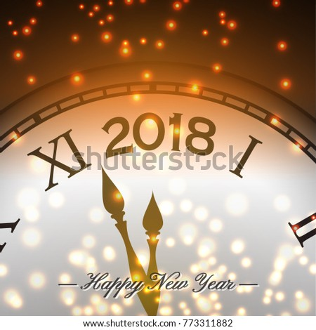 happy new year 2018 background with clock and snowflake happy holiday theme vector illustration