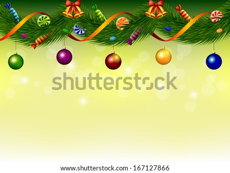 Happy New Year background with garland of fir-tree branches with colorful candy and Christmas bells and balls. Vector illustration.  - stock vector