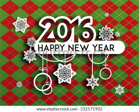 Happy new year background with holiday decoration. Design for card, banner, invitation, leaflet and so on.  - stock vector