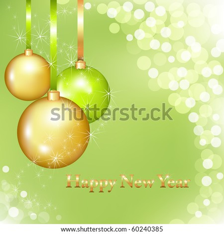 Happy New Year Background With New Year's Balls And Text, Vector Illustration