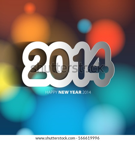 Happy New Year 2014 background with paper cut year - vector illustration - stock vector