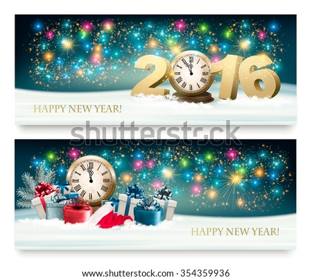 Happy New Year background with presents and fireworks. Vector. - stock vector
