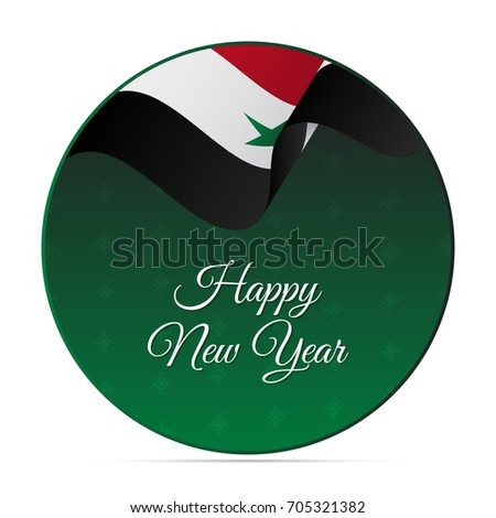 Happy new year banner or sticker syria waving flag snowflakes background vector illustration