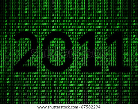 happy new year binary background - stock vector