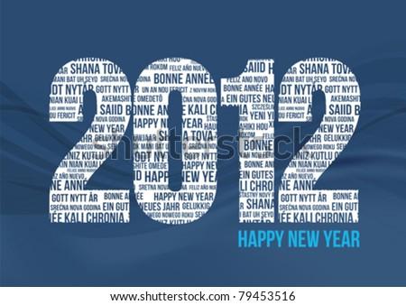 Happy New Year 2012 - Blue - stock vector