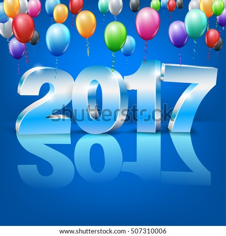 Happy New Year 2017 bright blue colored greeting card with 3D glossy numbers and balloons. Vector template