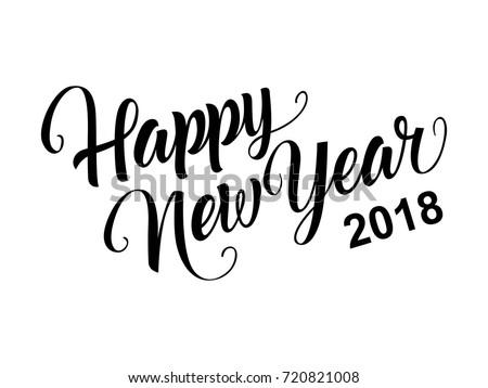 Happy new year calligraphy stock vector