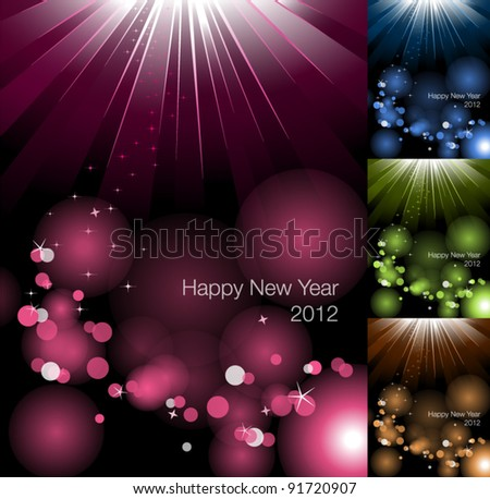 Happy New Year Card 2012 - stock vector