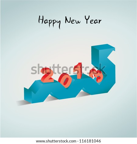 Happy New Year 2013 card. 3D snake and numbers - stock vector