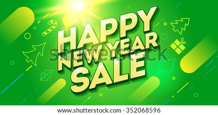 Happy New Year card design. Christmas sale banner design.Vector illustration. New Year banner - stock vector