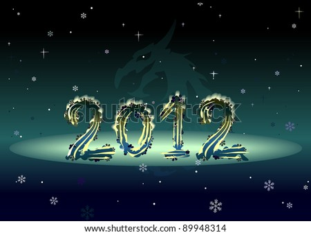 Happy new 2012 year. Card. Dragon. Silhouette. Vector. - stock vector