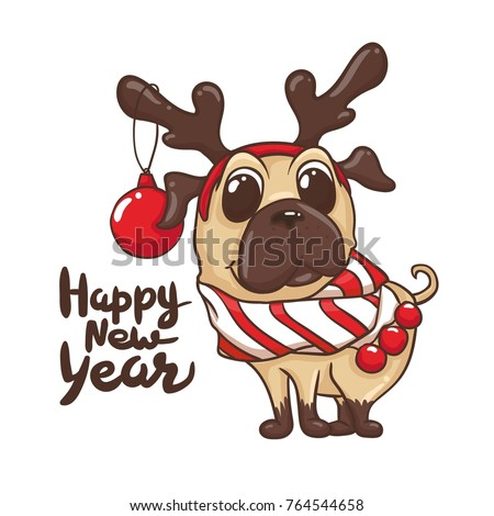 Happy 2018 New Year Card Funny Stock Vector (Royalty Free) 764544658 ...