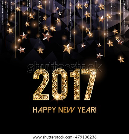 Happy New Year 2017 card, gold letters and gold stars