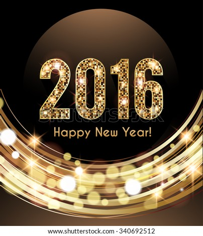 Happy New Year 2016 card, Golden lights background - stock vector