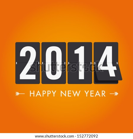 Happy new year 2014 card. Mechanical timetable in movement - stock vector