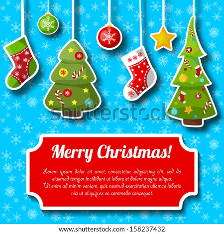 Happy New Year Card. Merry Christmas. Vector Illustration, eps10, contains transparencies. - stock vector