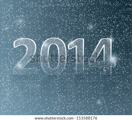 Happy new year card / Number 2014 in snow background - stock vector