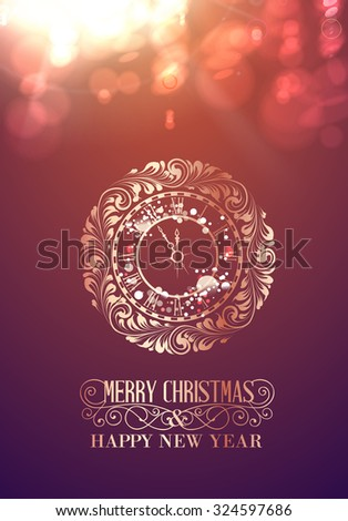 Happy new year card over gray background with fire bokeh. Happy new year 2016. Holiday card. Template for your design. Abstract fire bokeh. Holiday background colored red. Vector illustration. - stock vector