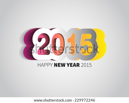 Happy New Year 2015 card, vector background - stock vector