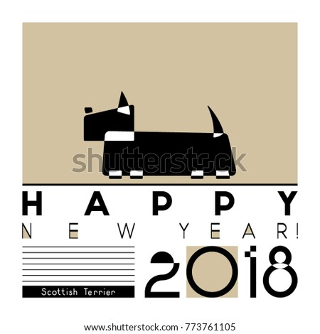 happy new year card with a stylized scottish terrier dog on graphic background vector illustration