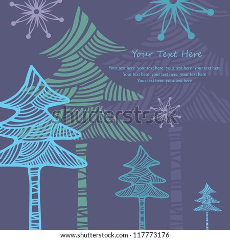 Happy New Year card with abstract  Christmas tree - stock vector