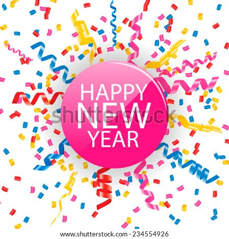 Happy New Year card with confetti and streamers, vector illustration.  - stock vector