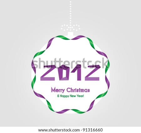 Happy New Year Card  with globe - stock vector