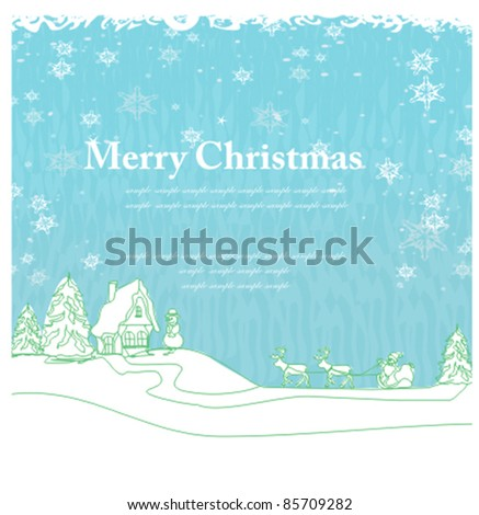 Happy New year card with Santa and winter landscape - stock vector