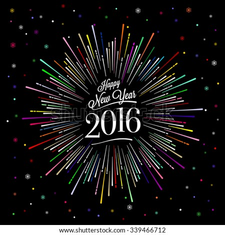 Happy New Year Card with Starburst. Vector illustration. - stock vector