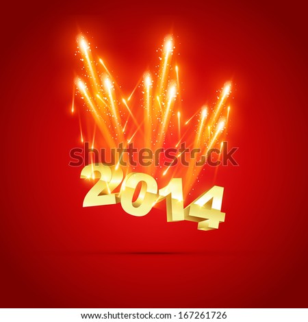 happy new year 2014 celebration - stock vector
