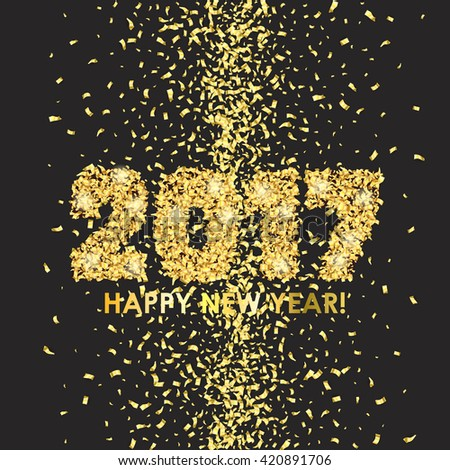 Happy New Year 2017 celebration background. Colorful digital type on black with gold confetti. Greeting card template. Vector illustration.
