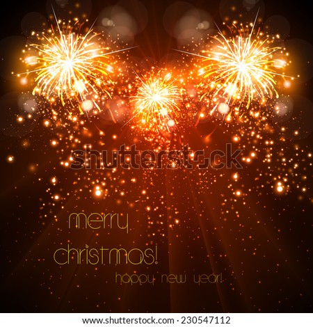 Happy New Year celebration background fireworks, easy all editable - stock vector