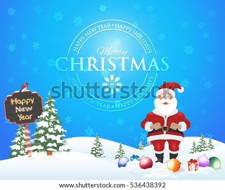 Happy New Year Celebration, Christmas Landscape, Winter Background Design, Snowflakes, Pine Tree, Santa Claus and Snow Illustration, Greeting Card Template