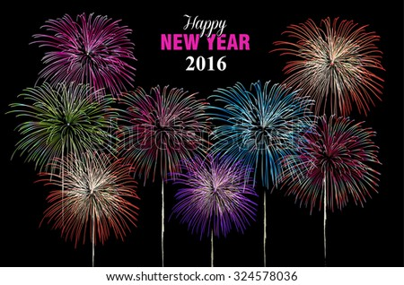 Happy new year celebration 2016 fireworks explosion in the night sky. Ideal for holiday greeting card, poster or web. EPS10 vector. - stock vector