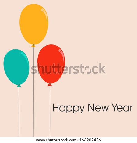 Happy New Year 2014 celebration flyer, banner, poster or invitation with colorful balloon on abstract background.