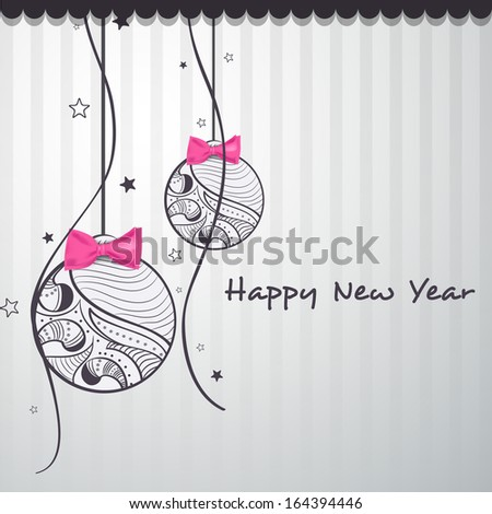 Happy New Year 2014 celebration flyer, banner, poster or invitation with floral decorated hanging Xmas ball and pink bow on grey background.  - stock vector