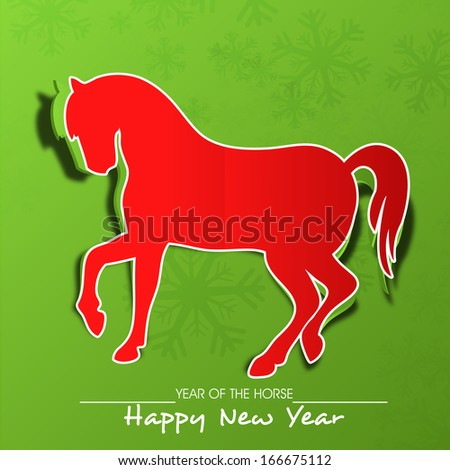 Happy New Year 2014 celebration flyer, banner, poster or invitation with illustration of horse in red color, Chinese symbol of the year grungy green background.  - stock vector