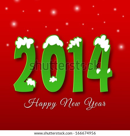 Happy New Year 2014 celebration flyer, banner, poster or invitation with stylish green text on bright red background.