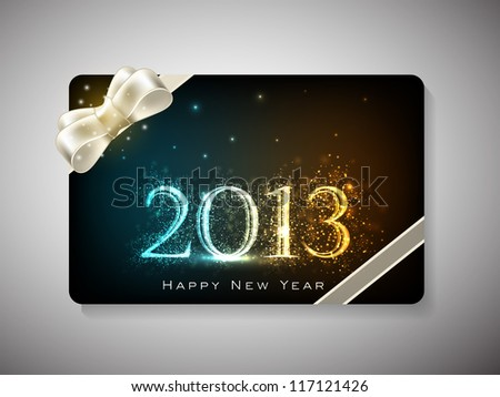 Happy New Year celebration gift card with  ribbon. EPS 10. - stock vector