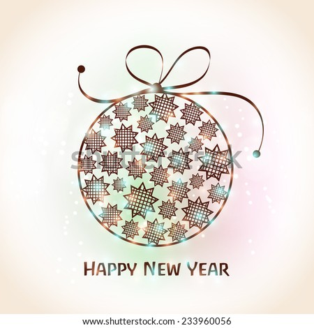 Happy New Year 2015 celebration greeting card design with beautiful X-mas Ball decorated by stars on shiny colorful background. - stock vector