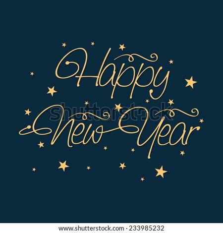 Happy New Year 2015 celebration poster, banner or flyer with stylish text and stars on blue background. - stock vector