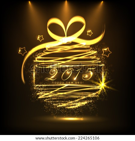 Happy New Year 2015 celebrations greeting card design with golden ball on brown background.  - stock vector